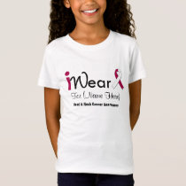 Personalize Burgundy White Ribbon Head Neck Cancer T-Shirt
