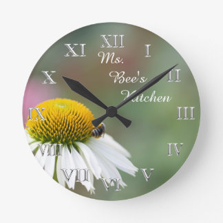 (Personalize)Busy Bee Flower Silver Roman Numerals Round Clock