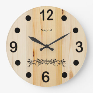 Personalize Butcher Block Wood Large Clock