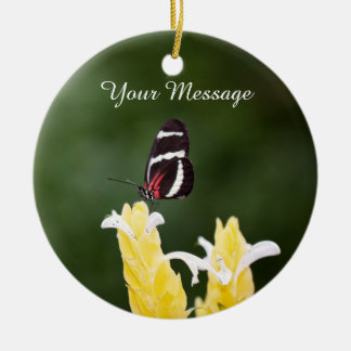 (Personalize) Butterfly Perched on Flower Ceramic Ornament