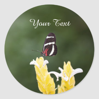 (Personalize) Butterfly Perched on Flower Classic Round Sticker