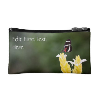 (Personalize) Butterfly Perched on Flower Cosmetic Bag