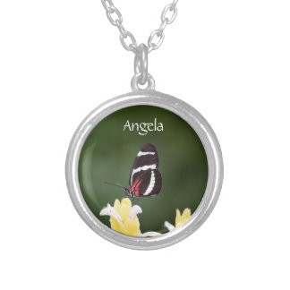 (Personalize) Butterfly Perched on Flower Round Pendant Necklace