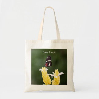 (Personalize) Butterfly Perched on Flower Tote Bag