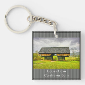 Personalize:  Cades Cove Cantilever Barn (SQ) Double-Sided Square Acrylic Keychain