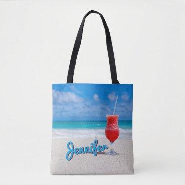 Beach Themed Personalize Caribbean Tropical Punch Daiquiri Tote Bag