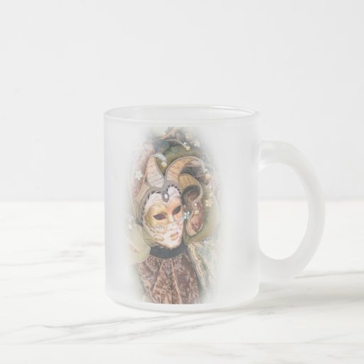 PERSONALIZE CARNIVAL MASK NAME FROSTED 10 OZ FROSTED GLASS COFFEE MUG