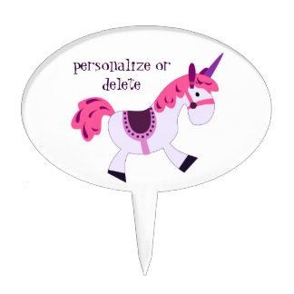 Personalize cartoon unicorn cake topper