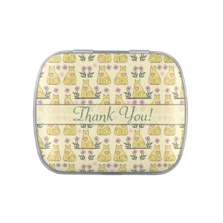 Personalize Cats Hearts Flowers Pattern Candy Tin