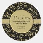 Personalize:  Centenarian, 100th Birthday Thanks Classic Round Sticker
