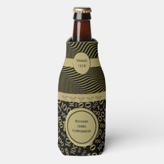 Personalize:  Centenarian, 100th Birthday Theme Bottle Cooler