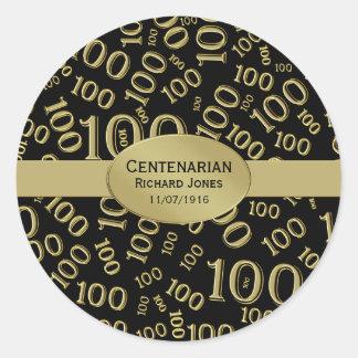 Personalize:  Centenarian, 100th Birthday Theme Classic Round Sticker