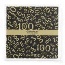 Personalize:  Centenarian, 100th Birthday Theme Paper Dinner Napkin