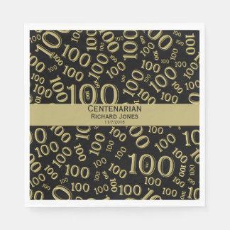 Personalize:  Centenarian, 100th Birthday Theme Paper Napkin