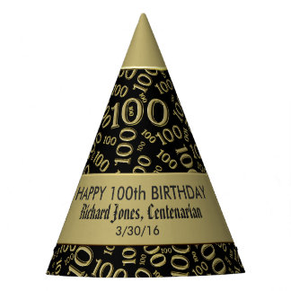 Personalize:  Centenarian, 100th Birthday Theme Party Hat