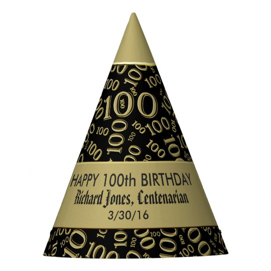 Personalize Centenarian 100th Birthday Theme Party Hat