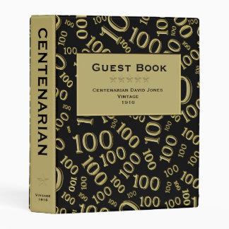 Personalize: Centenarian Black and Gold Guest Book Mini Binder