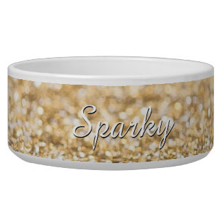 Personalize champagne gold glitter sparkles bowl