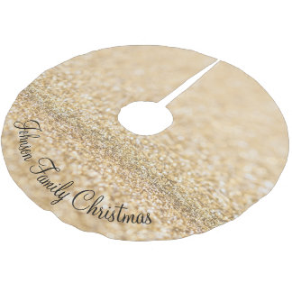 Personalize champagne gold glitter sparkles brushed polyester tree skirt