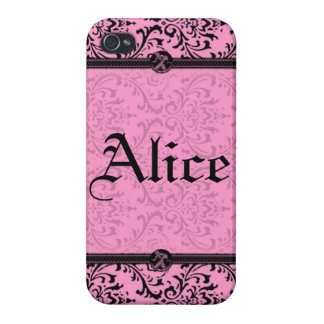 Personalize Chic Pink and Black Victorian Damask iPhone 4/4S Cover