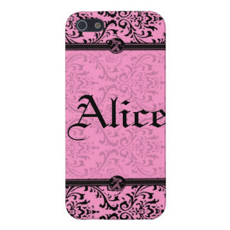 Personalize Chic Pink and Black Victorian Damask iPhone SE/5/5s Case