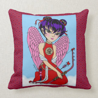 personalize Chinese Cupid with red patten Throw Pillow