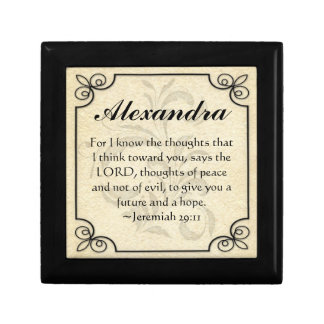 Personalize Christian Bible Verse Keepsake Trinket Gift Box