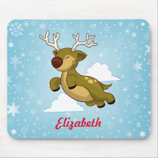 Personalize Christmas Flying Reindeer Mouse Pad