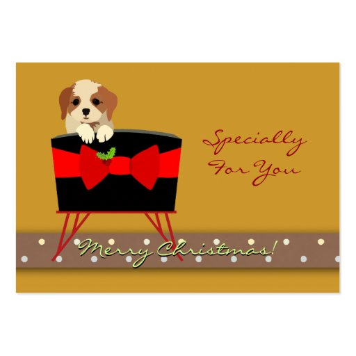 Personalize Christmas Holiday Gift Tag (Puppy) Large Business Card