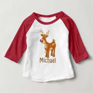 Personalize Christmas Reindeer Baby T-Shirt