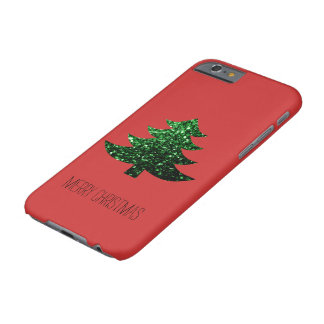 Personalize Christmas tree green sparkles on Red Barely There iPhone 6 Case