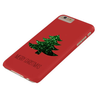 Personalize Christmas tree green sparkles on Red Barely There iPhone 6 Plus Case