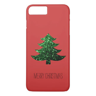 Personalize Christmas tree green sparkles on Red iPhone 7 Plus Case