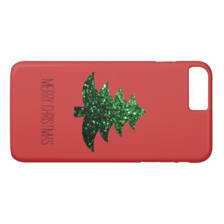 Personalize Christmas tree green sparkles on Red iPhone 8 Plus/7 Plus Case