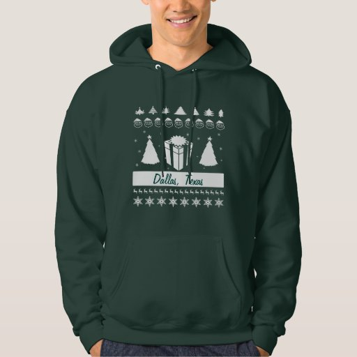 Personalize City Name Ugly Christmas Sweater Trees