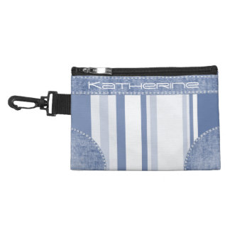 Personalize: Classic Blue and White Stripes Accessories Bag