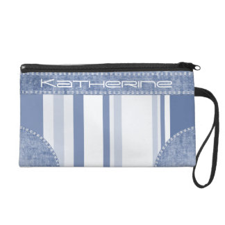 Personalize: Classic Blue and White Stripes Wristlets
