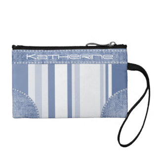 Personalize: Classic Blue and White Stripes Coin Purses
