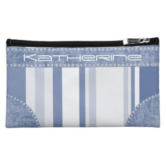 Personalize: Classic Blue and White Stripes Cosmetic Bag