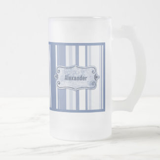 Personalize: Classic Blue and White Stripes Frosted Glass Beer Mug