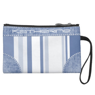 Personalize: Classic Blue and White Stripes Suede Wristlet Wallet