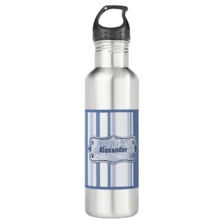 Personalize: Classic Blue and White Stripes Water Bottle