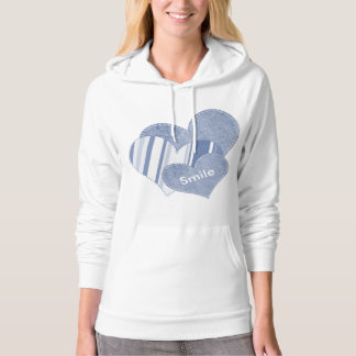 Personalize: Classic Blue Hearts with Text Hoody