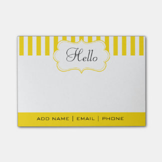 Personalize Classy Freesia Yellow Stripes Post-it® Notes