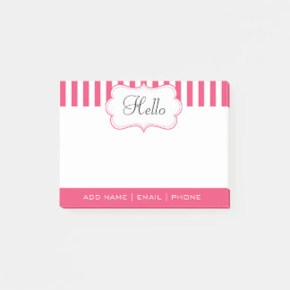 Personalize Classy Pink Cayenne Stripes Post-it Notes