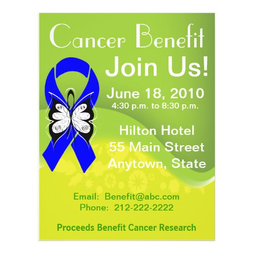 personalize colon cancer fundraising benefit flyer