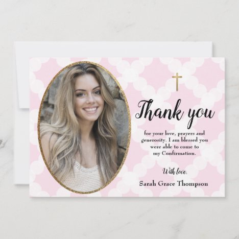 Personalize Confirmation teen girl photo thank you