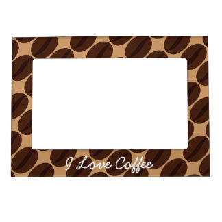 Personalize Cool Brown Coffee beans pattern Magnetic Photo Frame