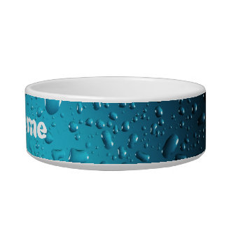 Personalize Cool water drops blue pet bowl