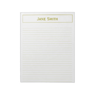 Personalize: Corporate Minimal Gold and White Note Pad